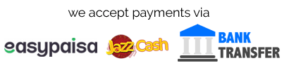 We accept payments via EasyPaisa, JazzCash and Bank Transfer